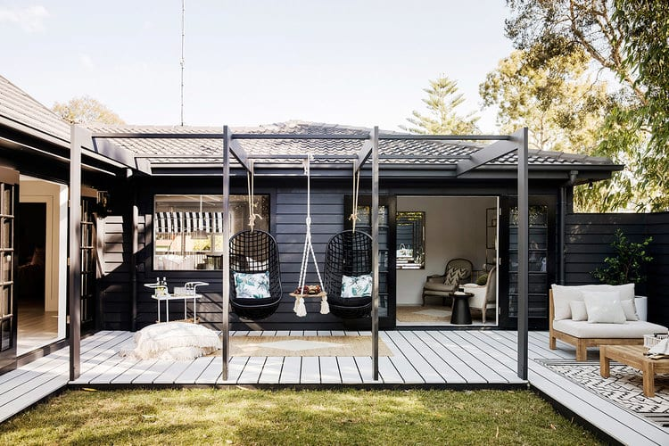 Black and white decking
