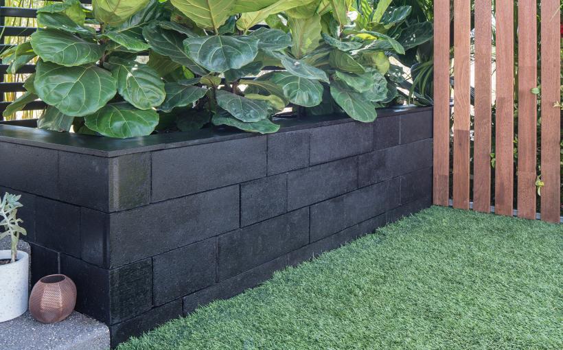 Black retaining wall