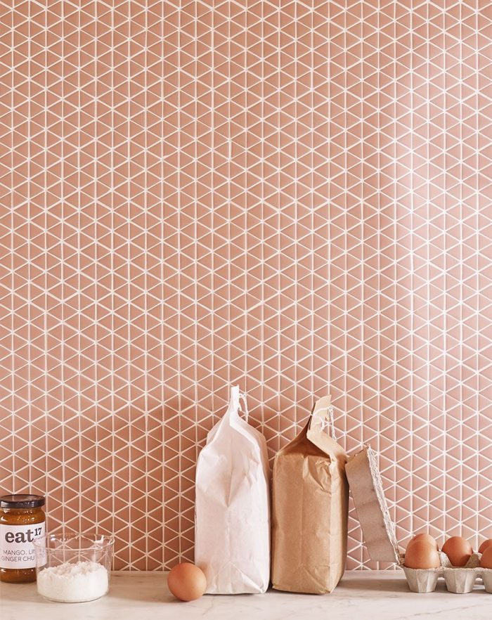 Blush triangle splashback