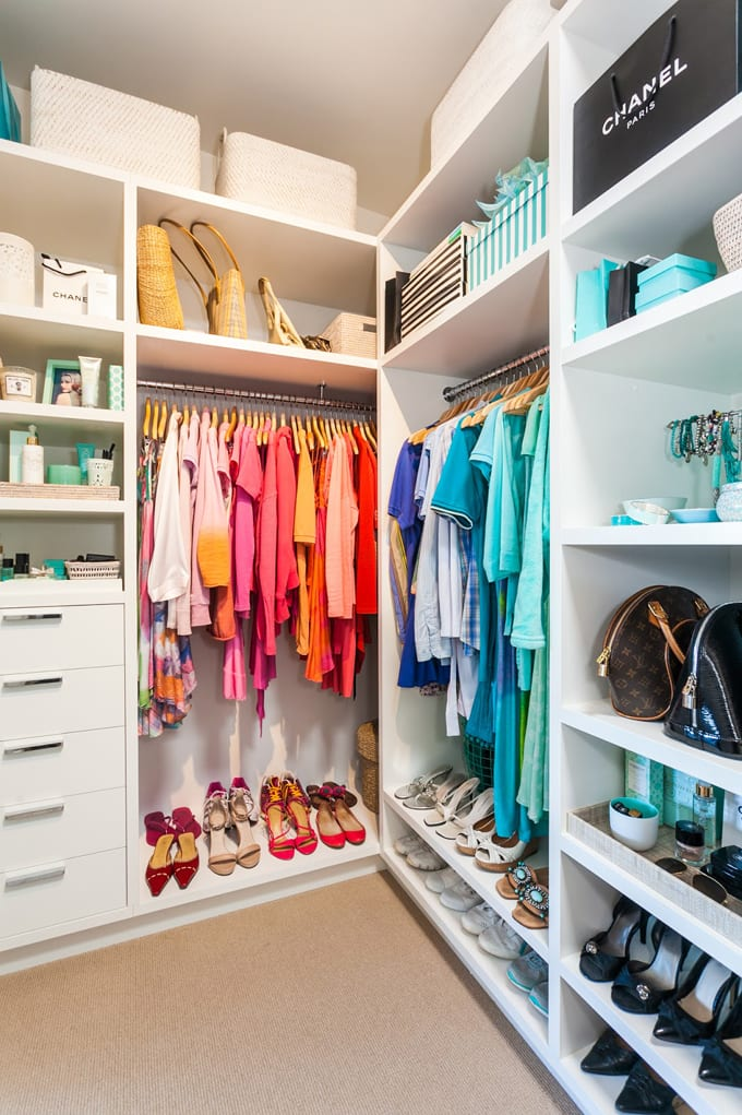 Colour coordinated closet
