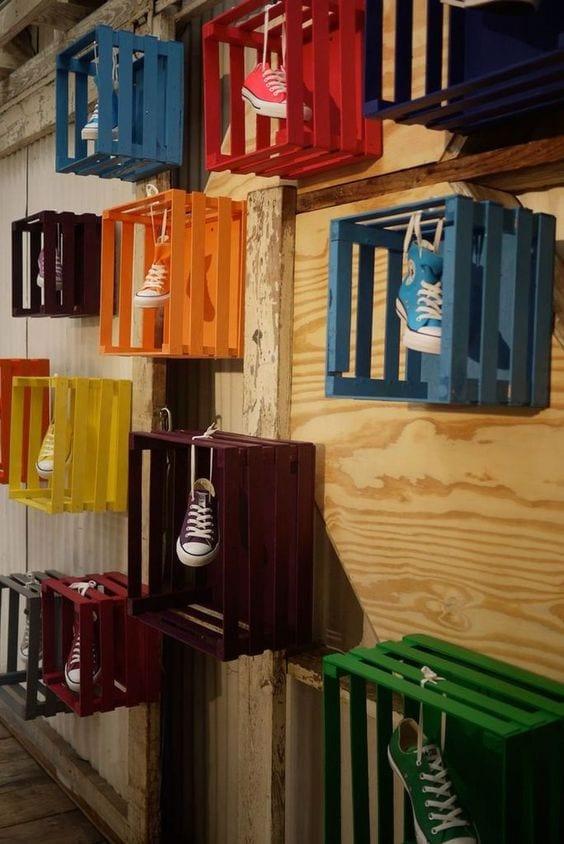 coloured crates