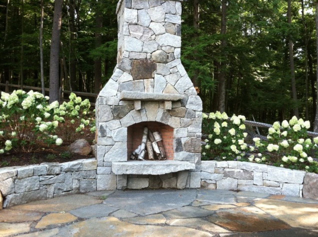 Fireplace retaining wall