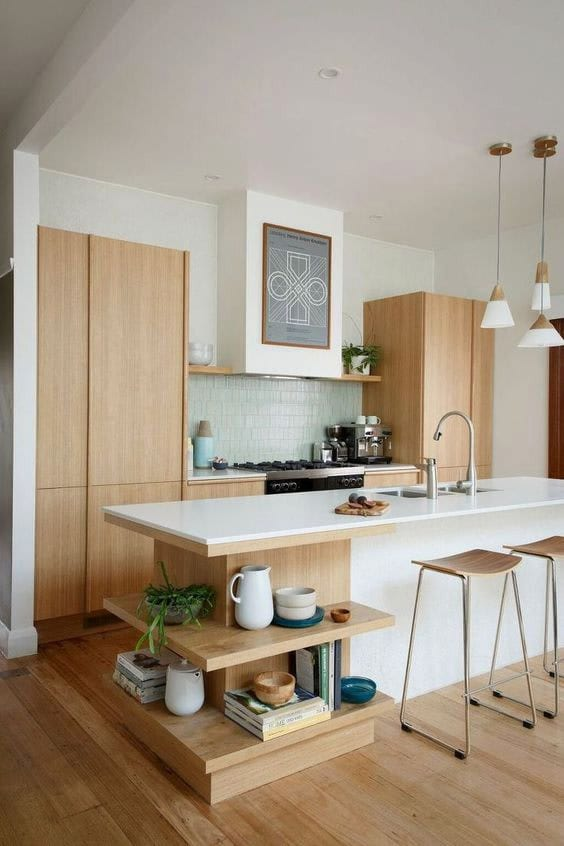 kitchen island open shelving