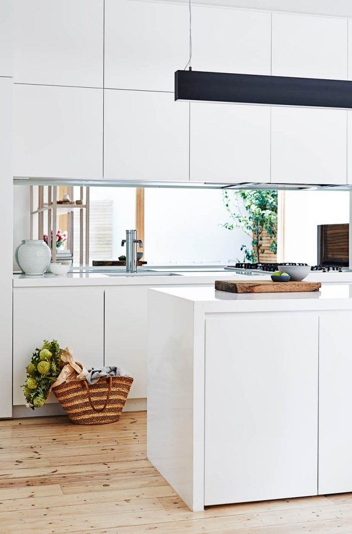 Mirror kitchen splashback