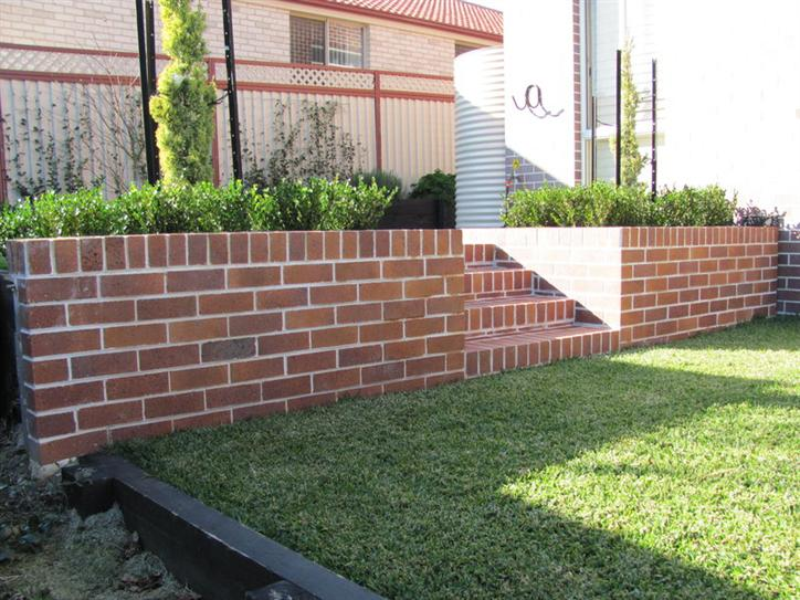 Red brick retaining wall