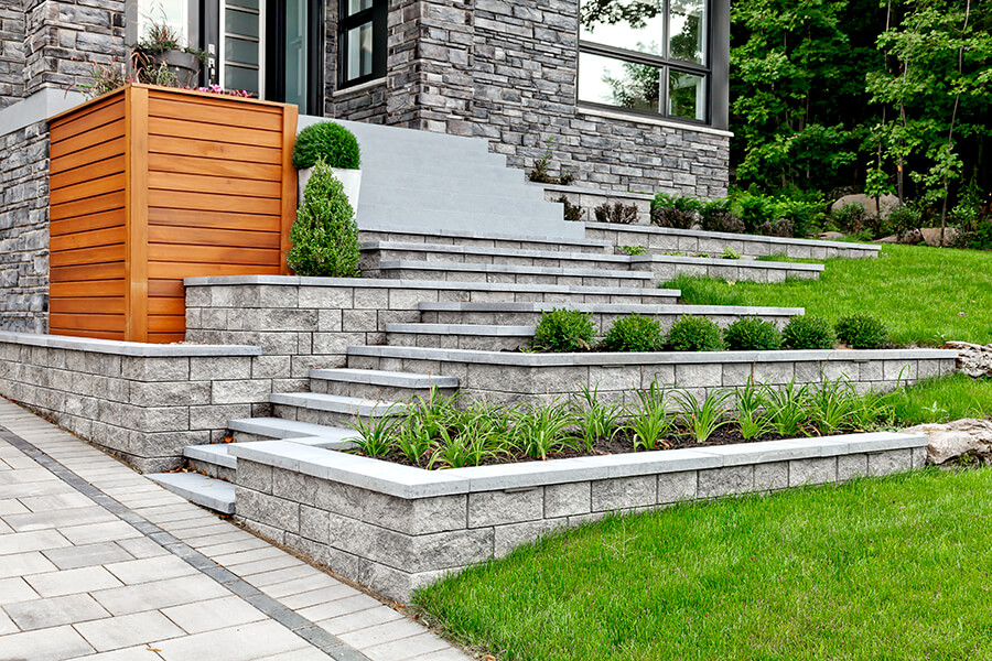Grey retaining wall blocks
