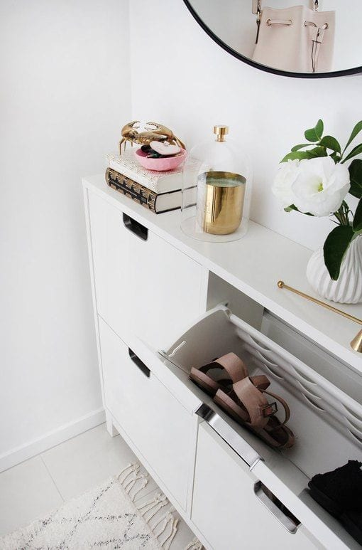 slim wall shoe storage