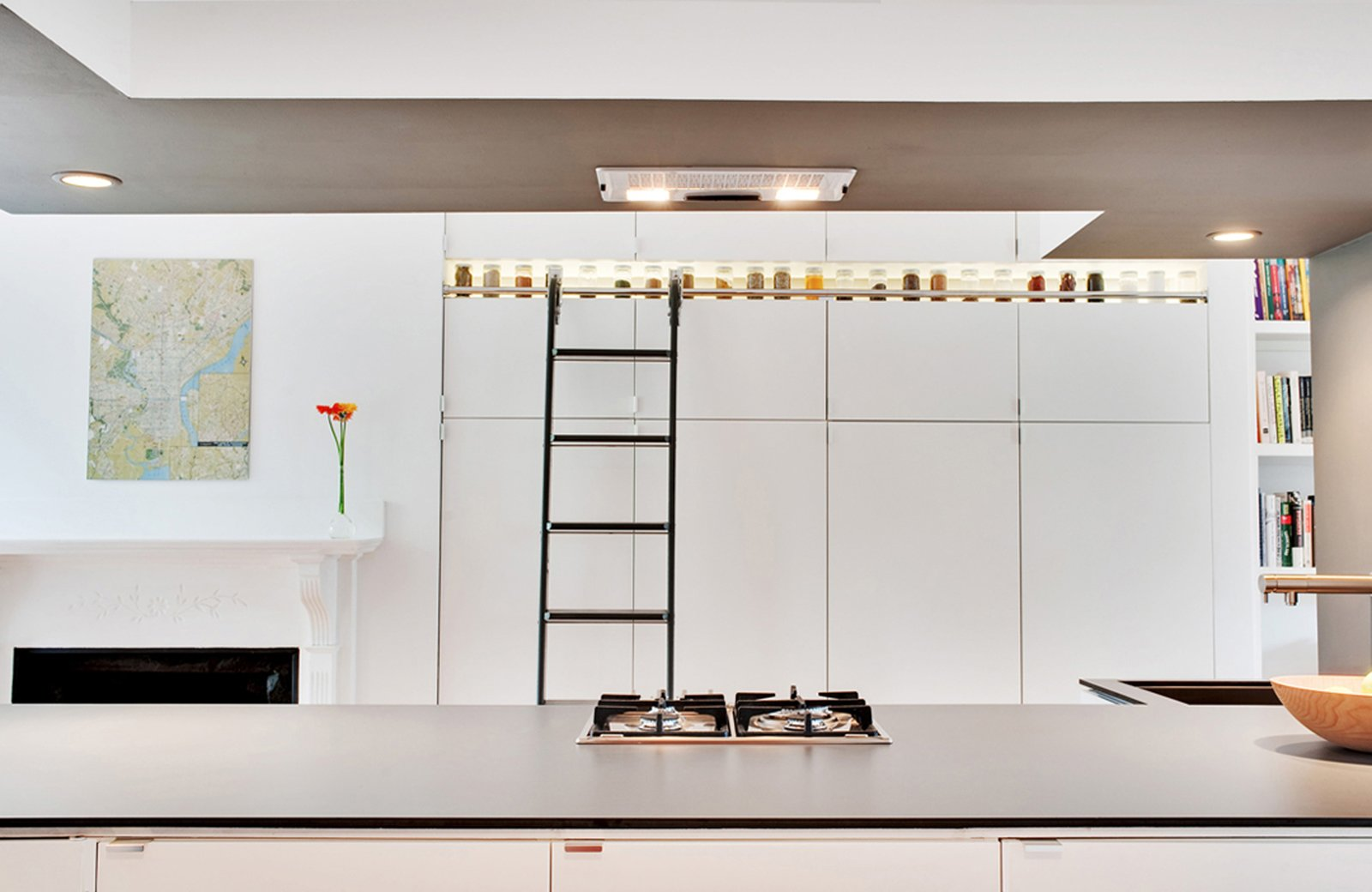 spice racks at ceiling