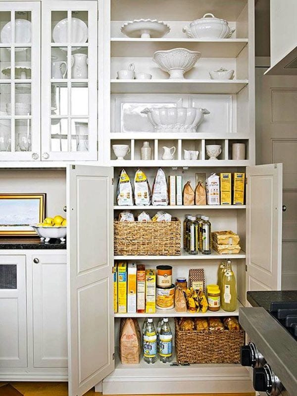 storage with baskets and yellow