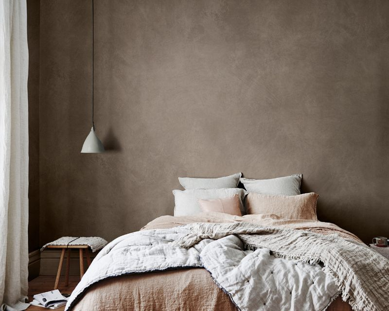 Brown feature wall