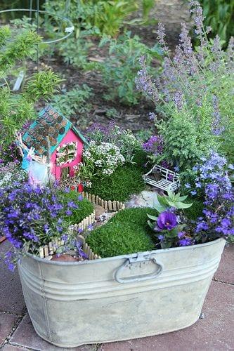 container planter fairy garden