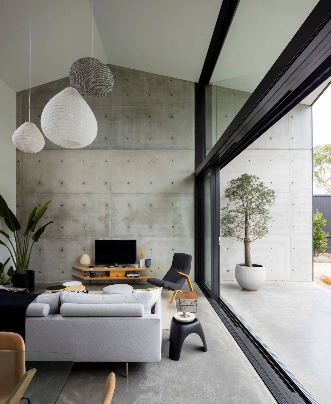 Grey industrial living room