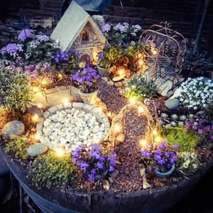 fairy garden with fairy lights