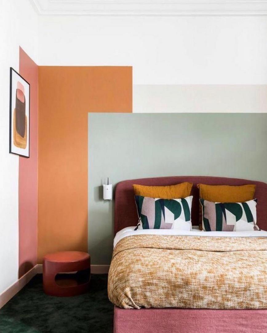 Multi-coloured feature wall