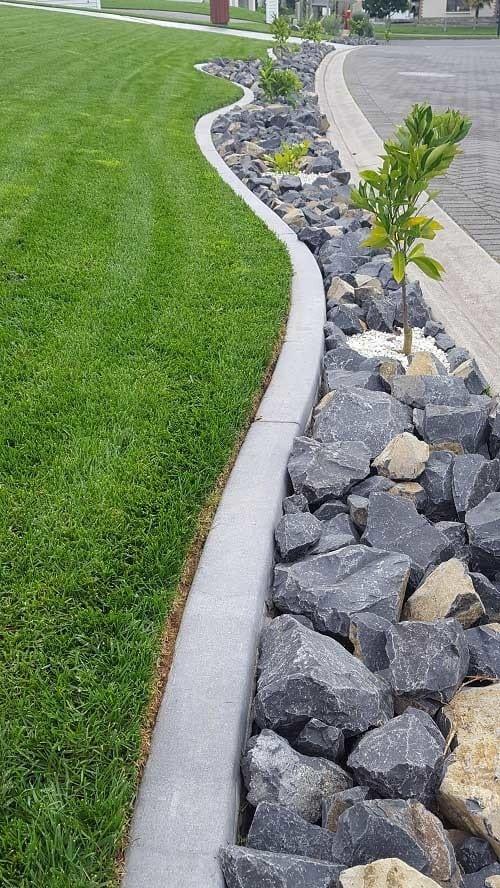 Poured concrete garden edging