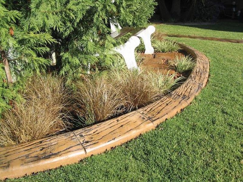 Rustic curved garden edging