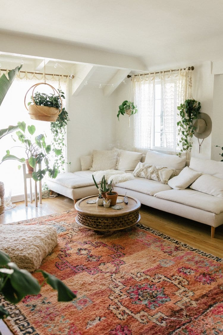 45+ Bohemian living room ideas - boho decor and style