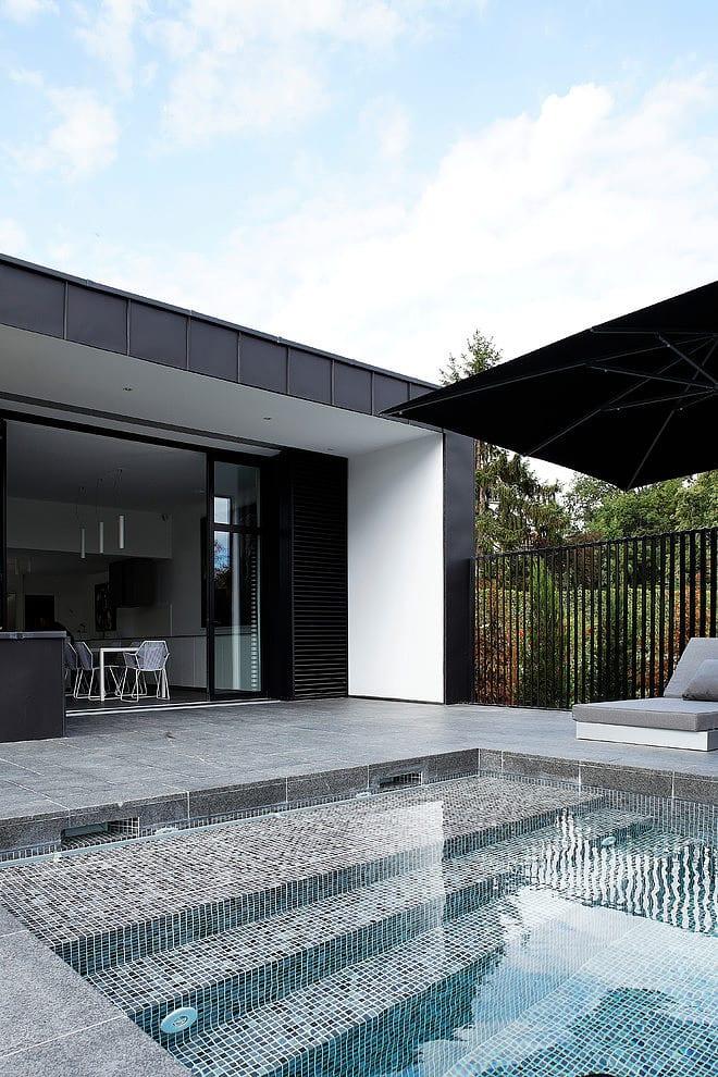 dark grey pool pavers