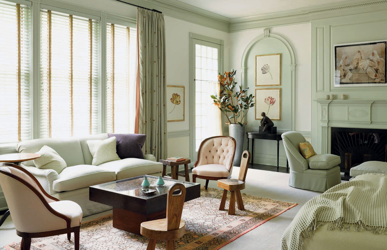 Pastel green living room