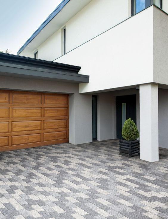 rectangular pavers shades of grey