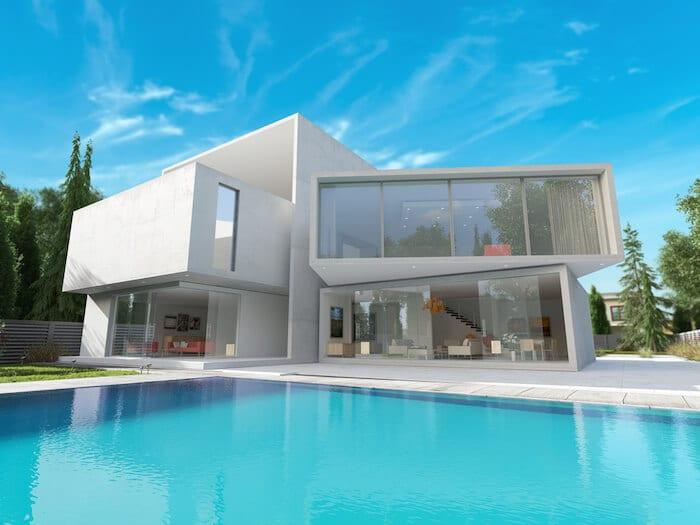 modern house exterior backyard