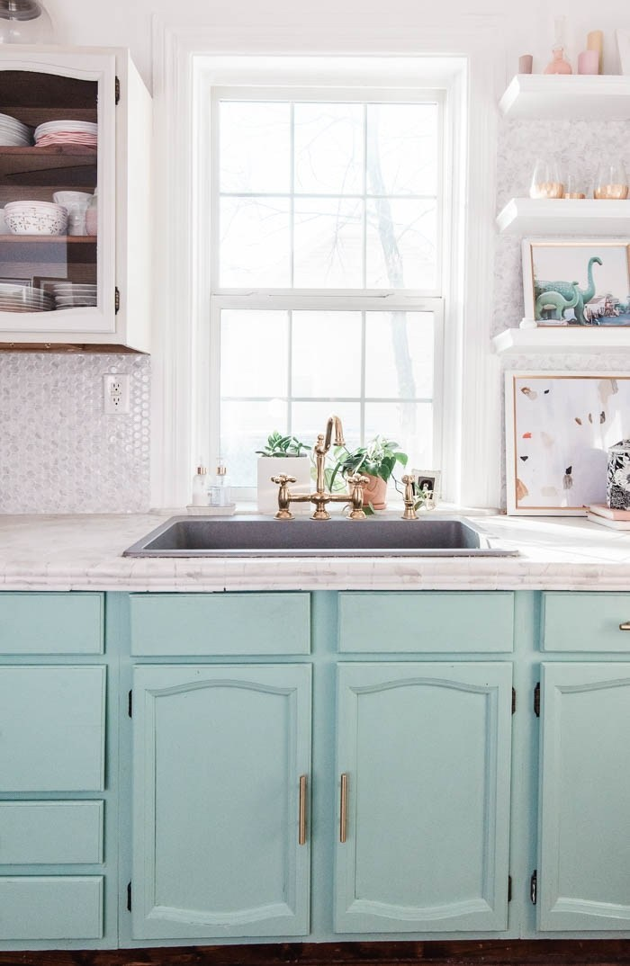 Mint blue kitchen