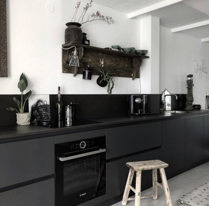 black galley kitchen