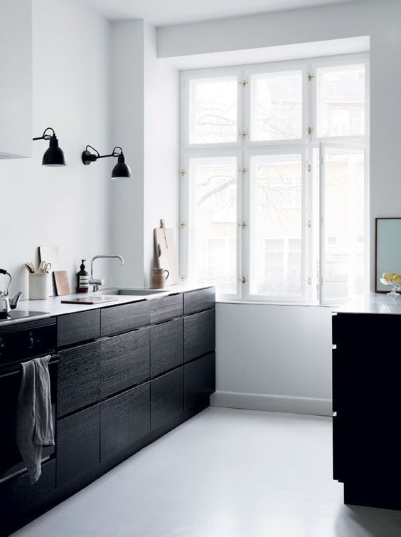 black wood cabinetry