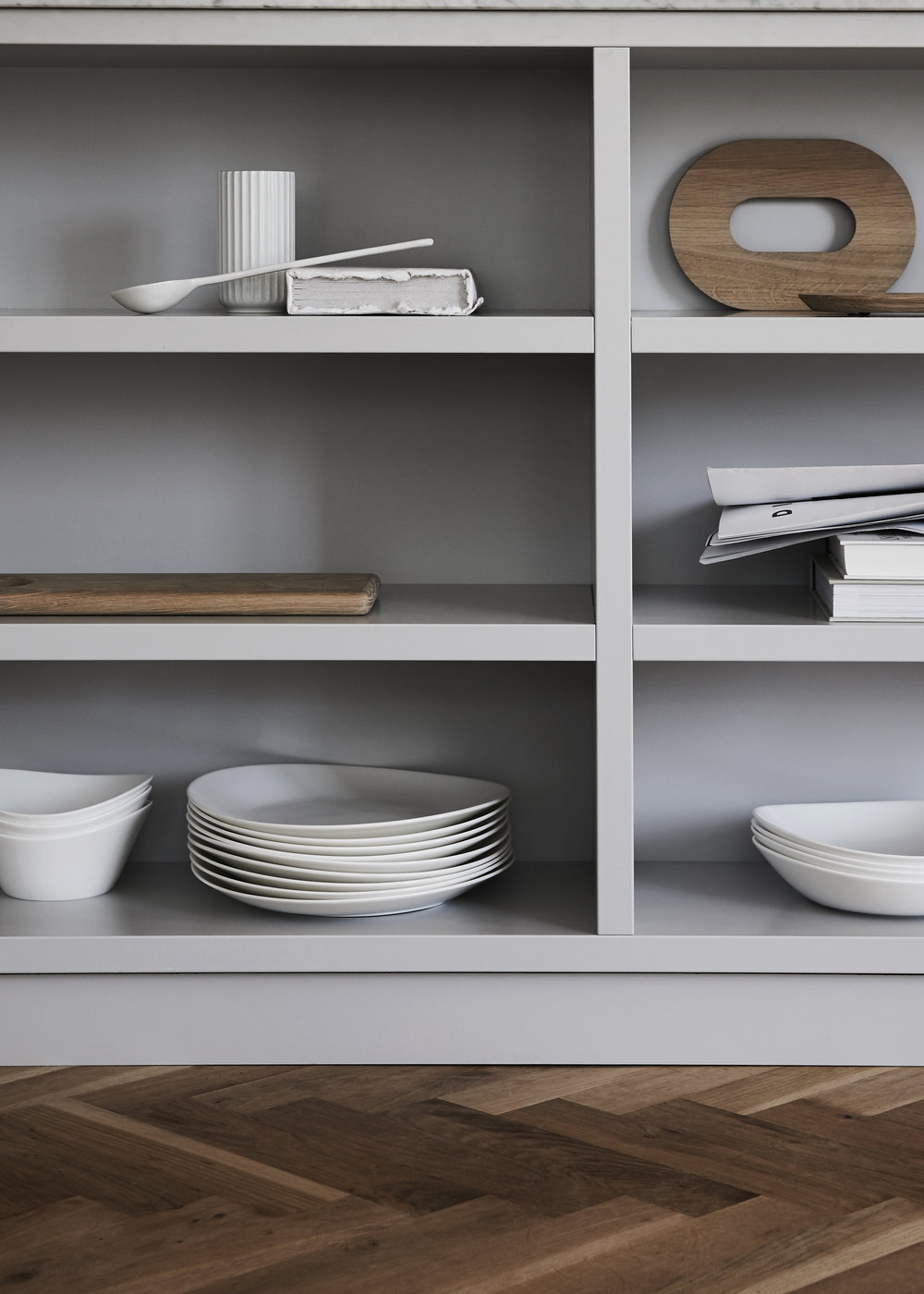 closeup pale grey cabinets