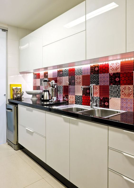 coloured tile splashback