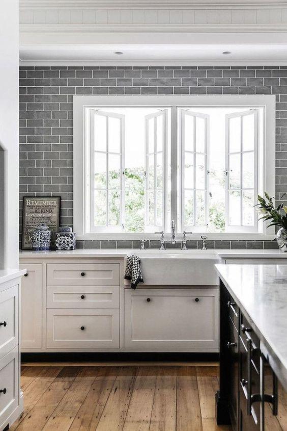 grey spanish tile splashback