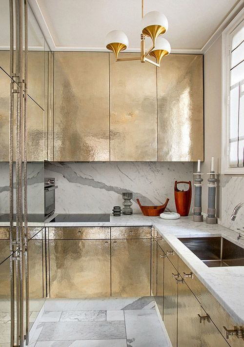 metallic galley kitchen