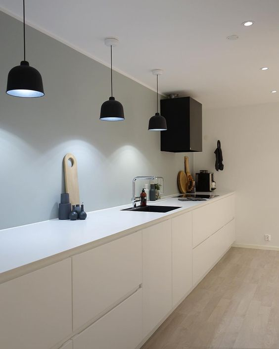 minimalist with black pendant lights