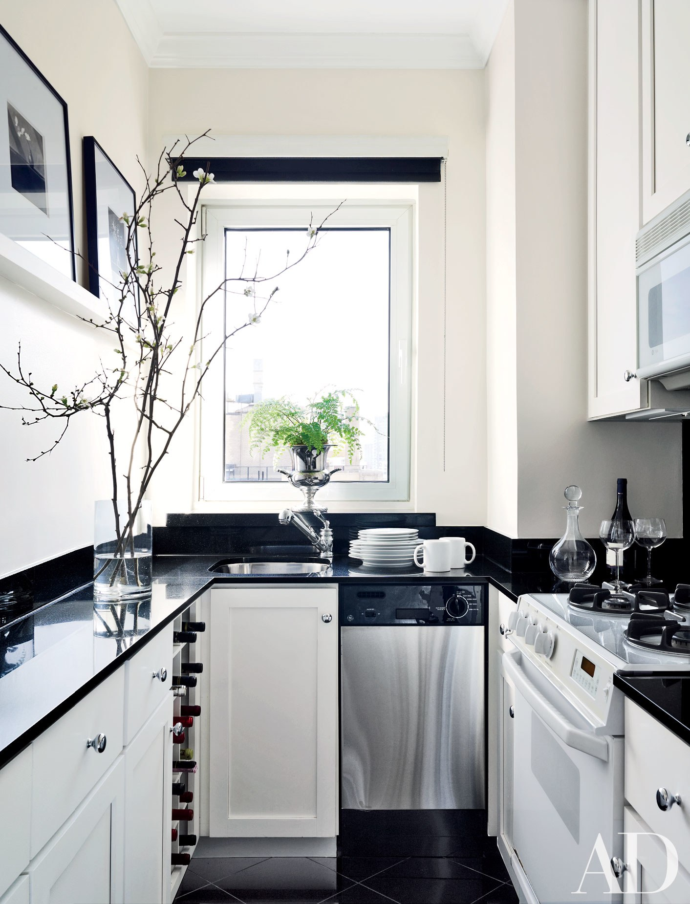 monochrome galley kitchen