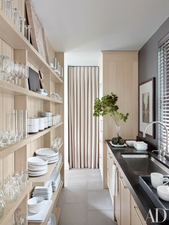 open shelving wall