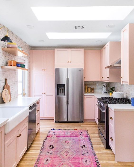 pink galley kitchen