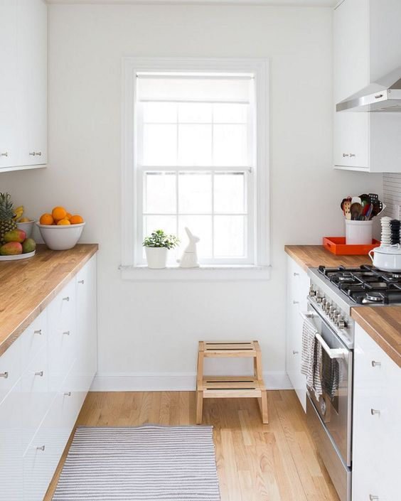 simple white galley kitchen