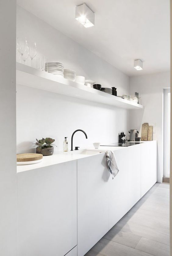 white minimal with white open shelf