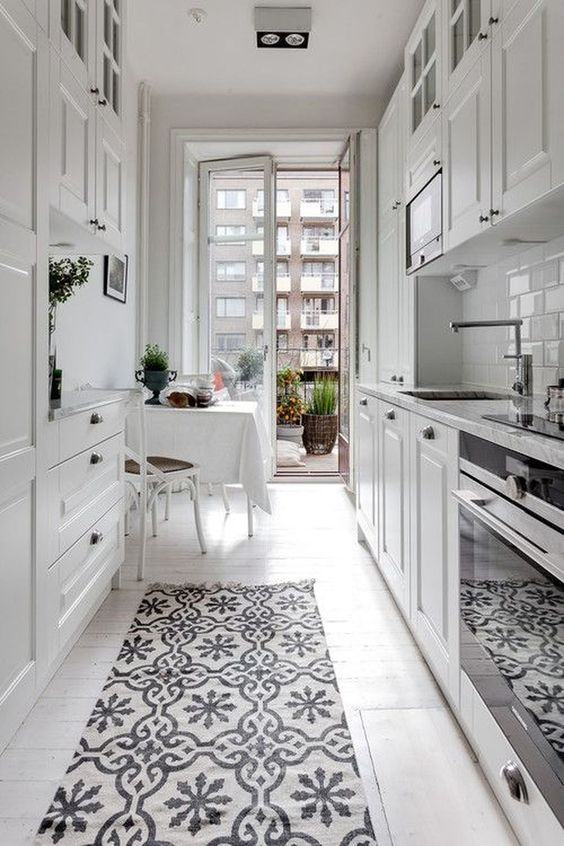 white with patterned rug