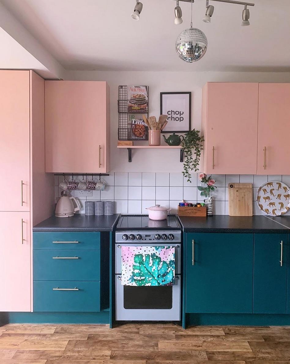 Pink blue kitchen