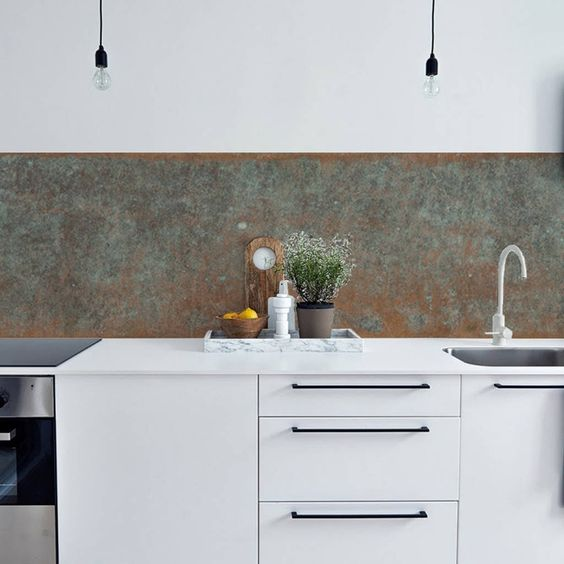 bronze copper kitchen backsplash