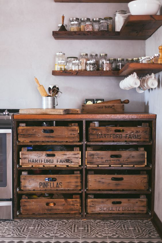 fruit crate kitchen drawers