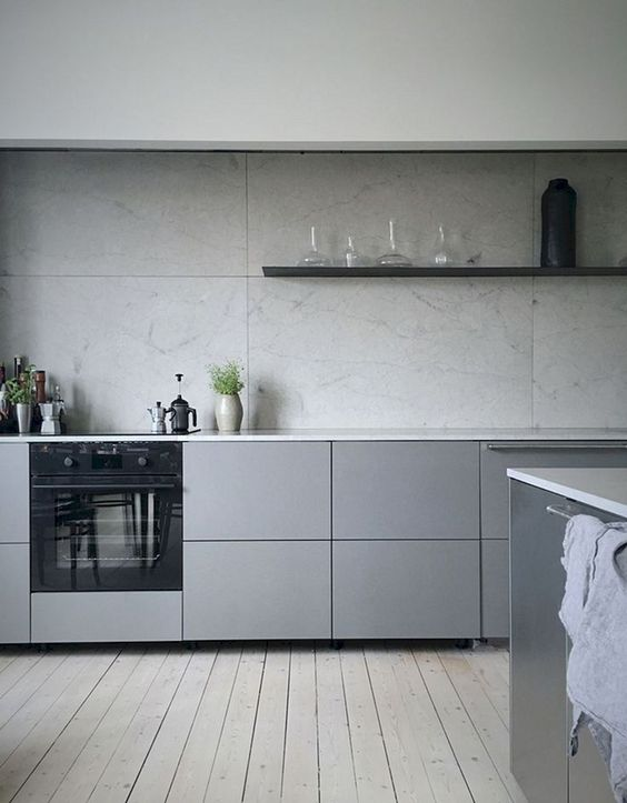 mid grey with open shelving