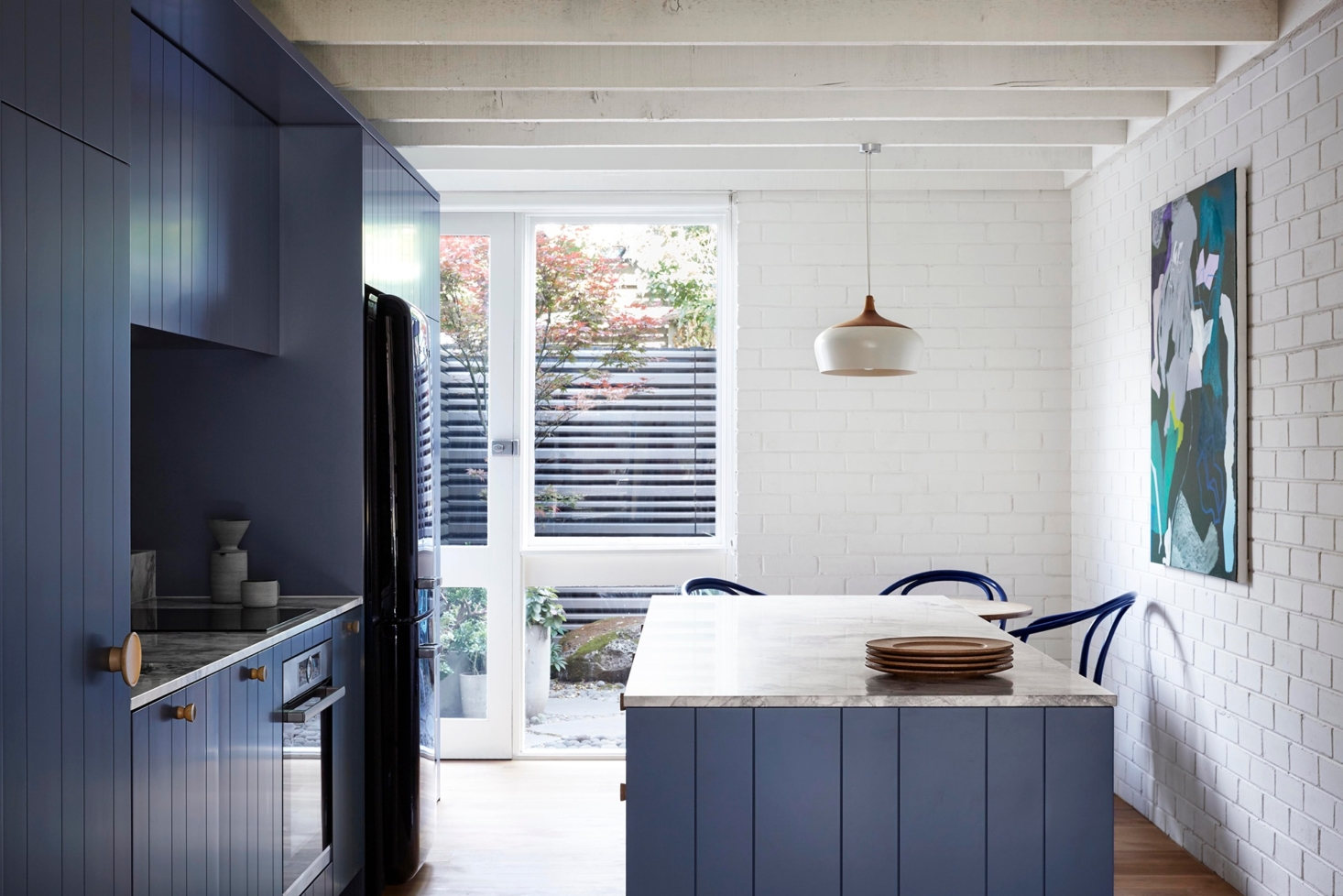 retro blue timber and whitewashed beams