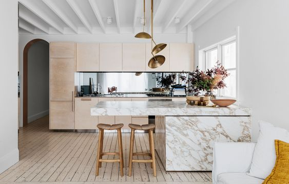 timber and marble with floorboards