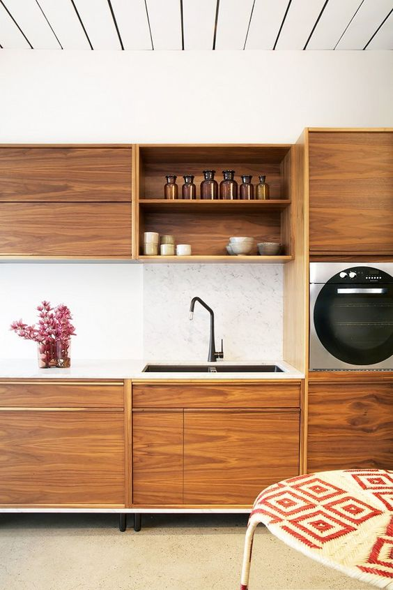 timber upper and lower cabinets