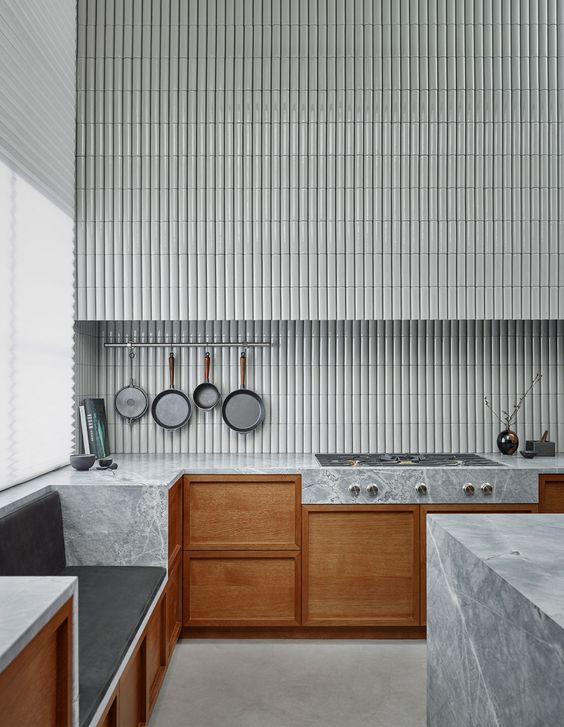timber with grey 3D handmade tile