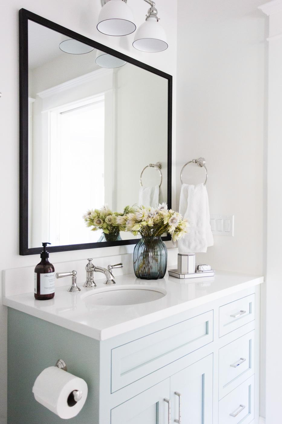 Soft blue vanity