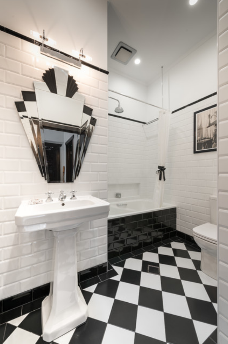 Black and white art deco bathroom
