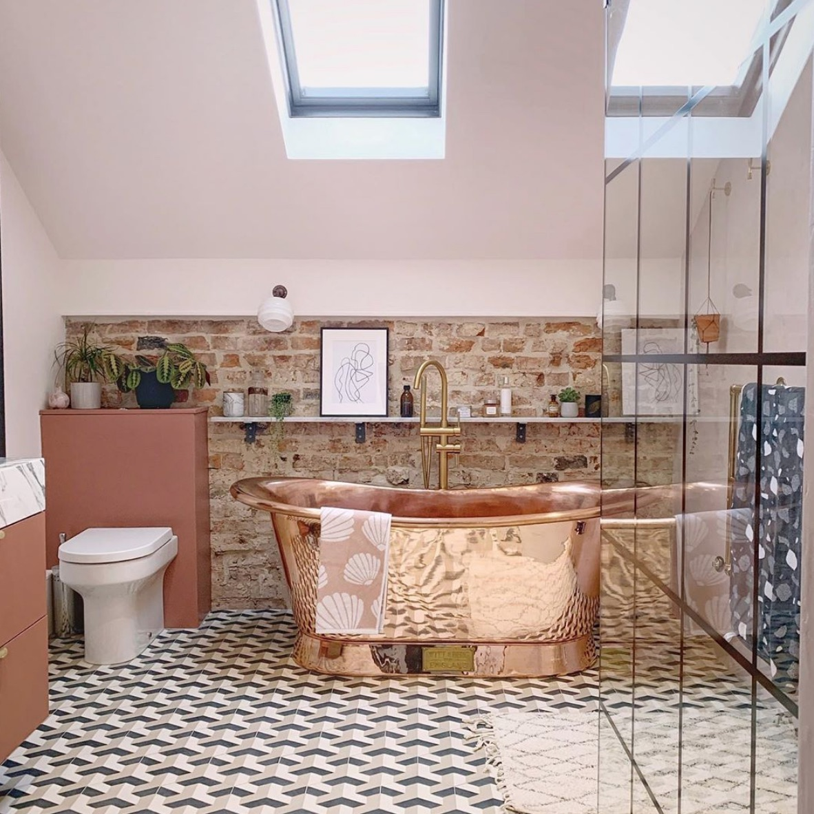 Vintage bathroom with copper bathtub